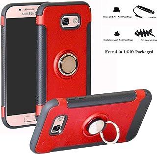 Labanema Galaxy A3 2017 Funda, 360 Rotating Ring Grip Stand Holder Capa TPU + PC Shockproof Anti-rasguños teléfono Caso protección Cáscara Cover para Samsung Galaxy A3 2017 - Rojo