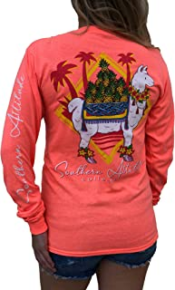 Southern Attitude Llama with Pineapples Heather Coral Long Sleeve Women's Shirt
