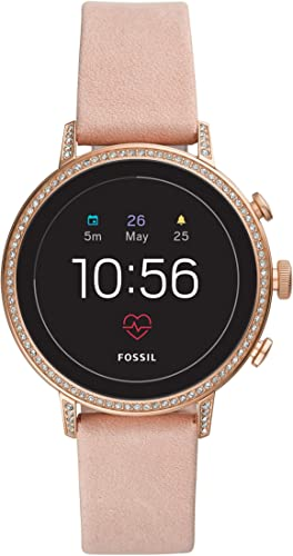 Fossil Women S Gen 4 Venture HR Heart Rate Stainless Steel And Leather Touchscreen Women S Smartwatch Color Rose Gold Pink Model FTW6015