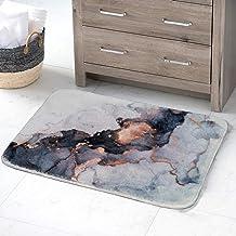 YoKii Black Gold Marble Bath Rugs 16x24 Faux Wool Shag Bath Mat Non Slip Luxury Modern Abstract Art Soft Quality Bath Rug ...