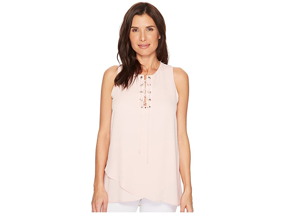 Karen Kane Asymmetric Lace-Up Tank (Rose) Women