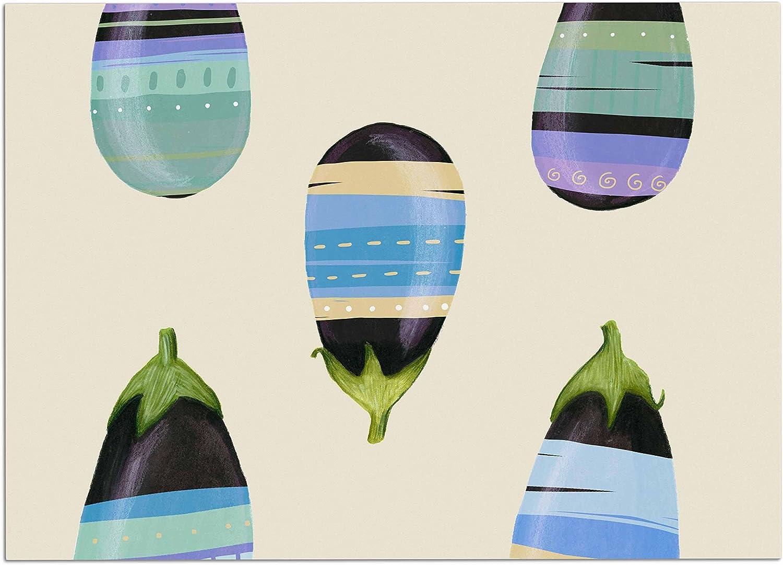 KESS InHouse JL1005ADM02 Judith Loske Happy Aubergines bluee Purple Dog Place Mat, 24  x 15
