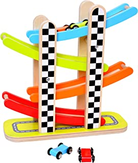 Pidoko Kids Car Racer Track Playset - 4 Levels Zig Zag Gliding Cars Racing Games - Wooden Mega Ramp Slider Ladder with 4 Mini Racers - Race Toys Gifts for Toddlers Boys and Girls 1 2 Year Old and up