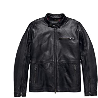 Harley-Davidson Men's #1 Skull Slim Fit Leather Jacket, Black