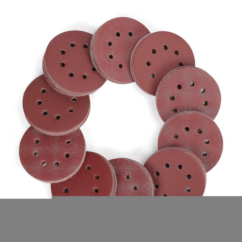 松の木簡単なスワップZGQA-GQA 150ピースサンドペーパーセット - 5インチ8穴サンディングディスクオービタルサンダー、60、80、100、120、150180、240、320、400、600のグリッツを含む10の異なるグレード