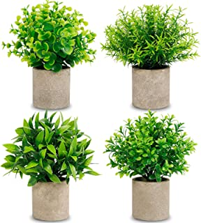 CEWOR 4 Packs Artificial Mini Potted Plants Fake Greenery Eucalyptus Rosemary Plastic Centerpiece for Home Office Desk Tab...