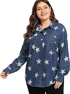 Floerns Women's Plus Size Long Sleeve Denim Shirt Button up Collar Denim Shirt Blouse Top