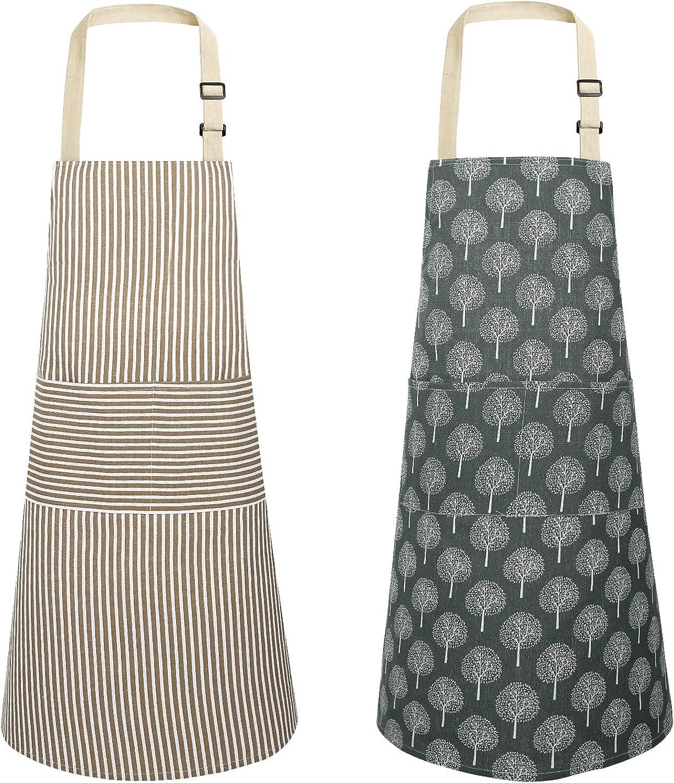 JOYPEA Cooking Apron Waterproof Adjustable 2 Pack Kitchen Aprons for Men Women