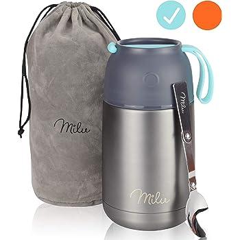 Milu® Thermobehälter Lunchbox 450 & 650ml   Edelstahl Isolierbehälter Gefäß für warme Speißen, Essen, Babynahrung, Suppe, Obst   Behälter für Baby   Speisegefäß   Thermogefäß (Grau/Blau, 650ml)