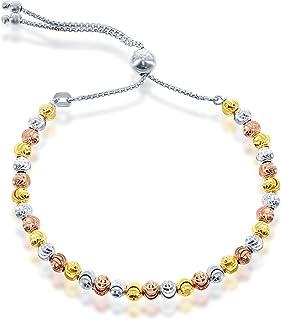 925 الفضة الاسترليني الإيطالية قابل للتعديل أساور فضة بولو للنساء قطع الماس، القمر الخرز سوار فضي