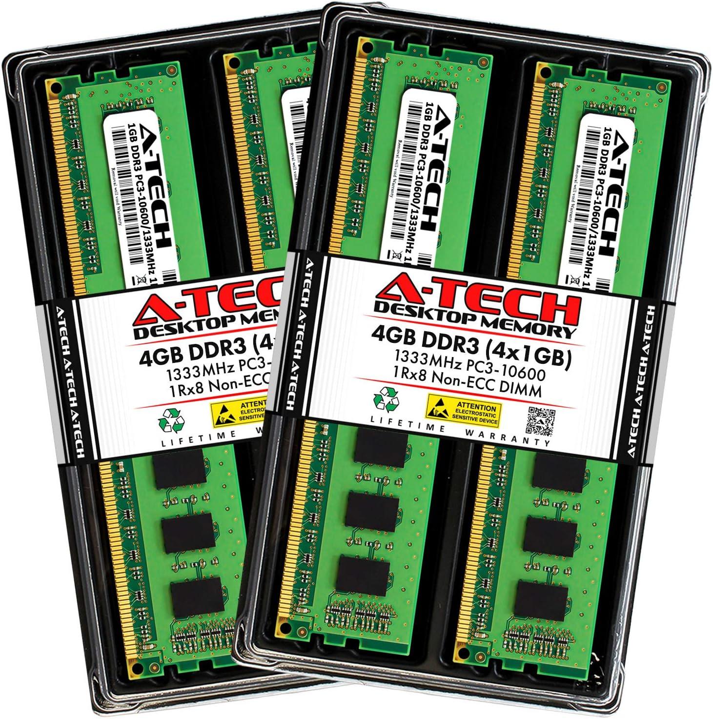 A-Tech 4GB DDR3 New mail order 1333MHz Desktop Memory PC3-10600 4 Ranking TOP5 N x Kit 1GB
