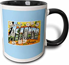 3dRose 169763_4 Greetings From Atlanta Georgia Bold Letters With Scenes Of The City Two Tone Mug, 11 oz, Black