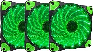 Apevia APEVIA AF312L-SGN 120mm Green LED Ultra Silent Case Fan w/ 15 LEDs & Anti-Vibration Rubber Pads (3-pk)