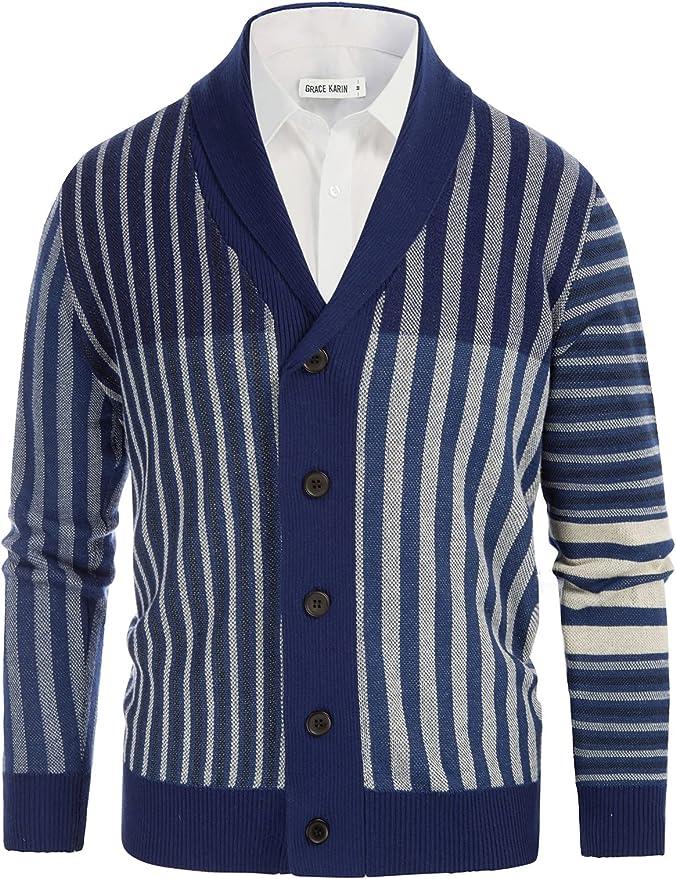 1960s Mens Shirts | 60s Mod Shirts, Hippie Shirts GRACE KARIN Men Vintage Stripes Cardigan Sweater Shawl Collar Buttons Knitwear  AT vintagedancer.com