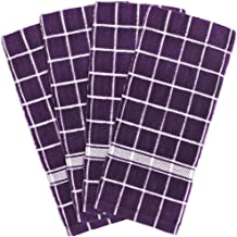 DII 100% Cotton, Machine Washable, Ultra Absorbant, Basic Everyday 16 x 26 Terry Kitchen Dish Towel, Set of 4- Eggplant Check
