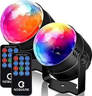 NEQUARE Party Lights Sound Activated Disco Lights Strobe Light 7 Lighting Color Disco Ball with Remote Control for Bar Clu...