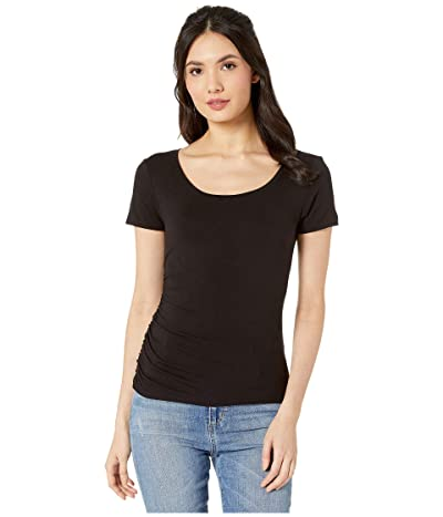Michael Stars Luxe Jersey Lily Scoop Neck Tee with Ruching (Black) Women