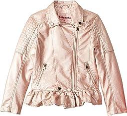 Metallic Faux Leather Moto Jacket (Little Kids/Big Kids)