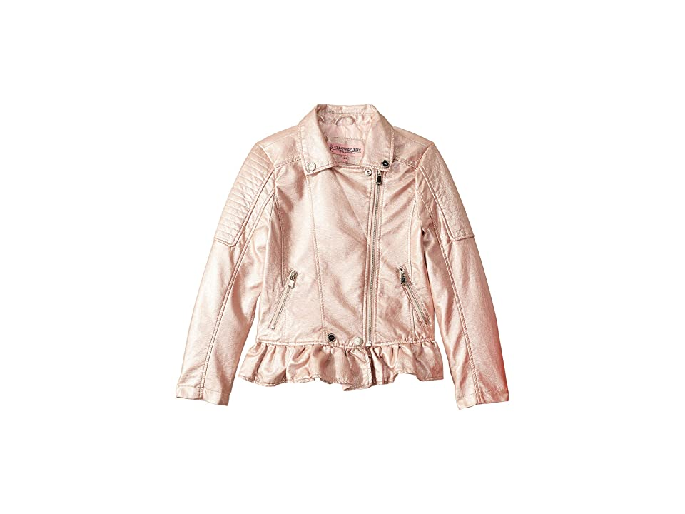 Urban Republic Kids Metallic Faux Leather Moto Jacket (Little Kids/Big Kids) (Rose) Girl