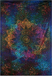 Jaipur Handloom Black Light Tapestries Intricate Blue Tie Dye Star Indian Bedspread Twin Tapestry Hippie Wall Decor Mandala Bohemian Tapestry Psychedelic Tapestry Ethnic Decorative (Blue)