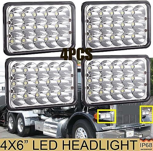 popular For Kenworth Peterbilt 386 340 365 wholesale 384 385 357 379 372 4X6 Inch LED Headlights Sealed Beam 6000K Super Bright High outlet online sale Low H4651 H4652 H4656 H4666 H6545 Pack-4, 2 Year Warranty outlet sale