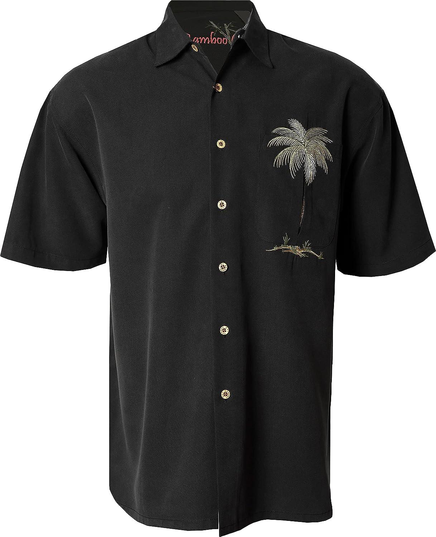 Bamboo Cay Mens Short Sleeve Peekaboo Palm Casual Embroidered Woven Shirt