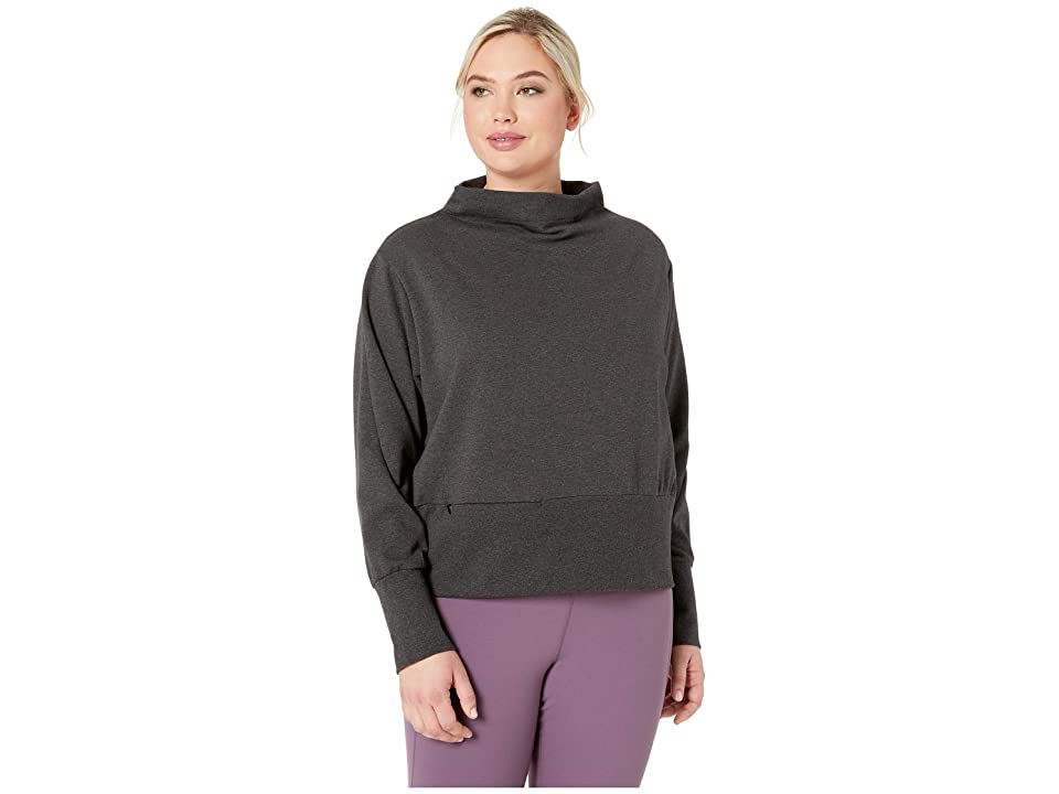 Nike Dry Gym Fleece Mock (Sizes 1X-3X) (Black/Thunder Grey/White) Women