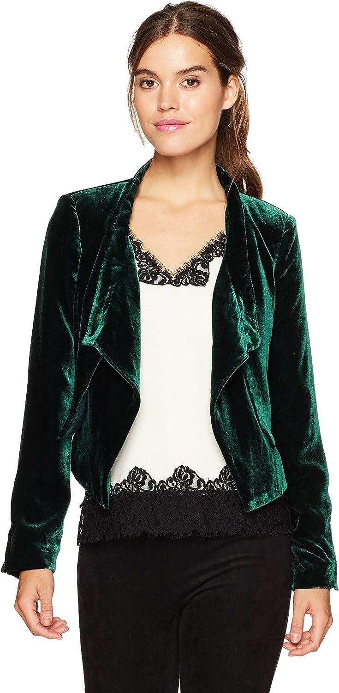 BCBGMAXAZRIA Womens Lloyd Woven Crushed Velvet Layered Jacket Jacket