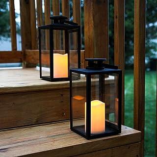 فانوس های شمع سیاه روشنایی در فضای باز ، روکش پانل شیشه ای ، ارتفاع 11 اینچ ، LED های سفید گرم ، از راه دور و باتری ها شامل شده است - مجموعه 2