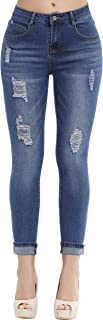 Women's Hight Waisted Butt Lift Stretch Ripped Skinny Jeans Distressed Denim Pants