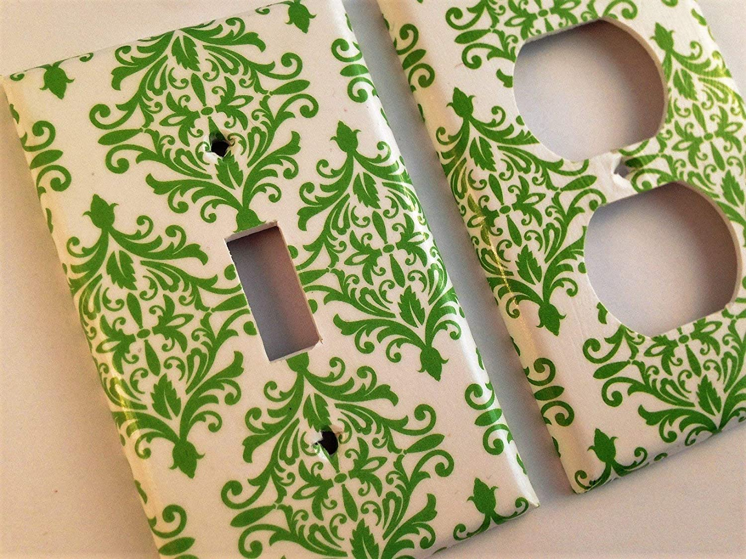 Green White Easy-to-use Damask Light Switch Limited price Various Offered Cover Sizes