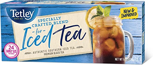 Tetley Black Tea, Iced Tea Blend, Family Size, 24 Round Tea Bags (Pack of 6)