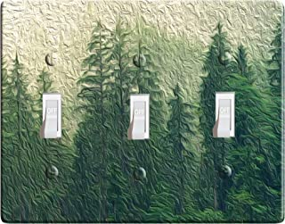 3-D Effect Printed Maxi Metal Pine Trees- Light Switch/Outlet Cover F0095 (3-gang toggle)