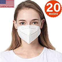 COOLINKO 5 Layers 95% Filtration Mask White Headgear - Liquid and Dust Proof Face Protection (20 Masks)