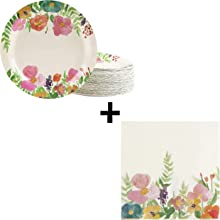 Floral Party Supplies Bundle with Paper Napkins and 9 Inch Paper Plates (180 Pieces)