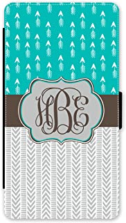 Simply Customized Phone Wallet Case, Compatible iPhone 7 Plus (5.5 inch) - Teal Boho Arrows Chevrons Monogram Monogrammed Personalized