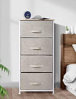 Drawer Dresser Storage Organizer 4-Drawers for Closet, Tall Sturdy Steel Frame Wood Top, Easy Pull Dresser Fabric Bins, Organizer Unit for Bedroom, Hallway, Entryway, Grey