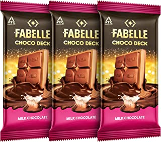 Fabelle Choco Deck Milk Chocolate, Pack of 3x130g, 3 Layered Premium Milk Chocolate Bar with Choco Crème