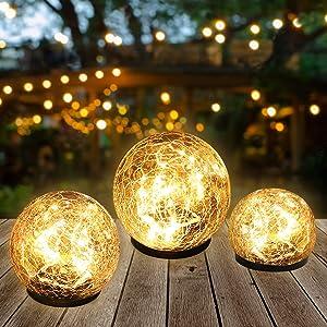 "Garden Solar Lights,Globe Solar Light Outdoor Cracked Glass Jar Ball Solar Lights,Waterproof Warm White 30 LED Solar Garden Lights for Walkway Patio Yard Lawn Birthday Party Decoration 1 Pack(5.9"")"