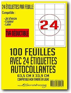 100 planches de 24 = 2400 étiquettes autocollantes papier adhésif blanc - 63,5 x 33,9 mm - compatible mon timbre en ligne ...