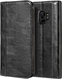 Procase Galaxy S9 Genuine Leather Case, Vintage Wallet Folding Flip Case with Kickstand and Multiple Card Holders Protective Book Case Cover for 5.8
