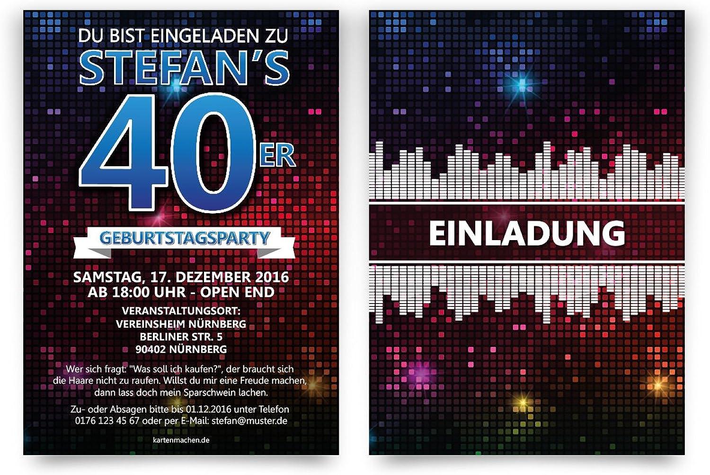 Einladungskarten Geburtstag (40 Stück) - Disco - Geburtstagseinladungen B01M36J0KU    Kompletter Spezifikationsbereich