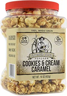 Farmer Jon's Cookies 'N Cream Caramel Popcorn, 16oz Jar of Gourmet Popped Popcorn