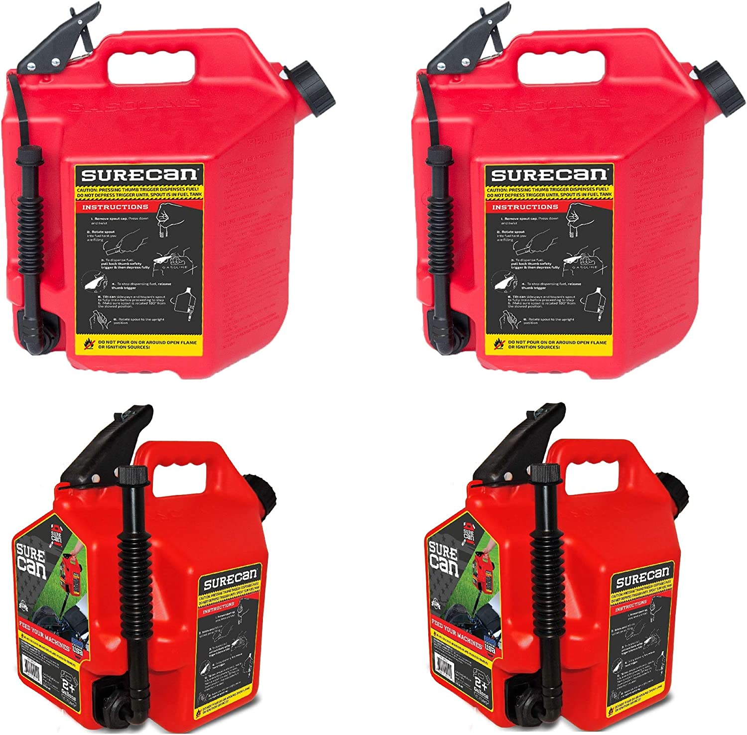 SureCan 5 Selling rankings Gallon Gas 2 2.2 Can Max 61% OFF Pack