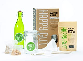 Water KEFIR STARTER KIT By Happy Gut- Includes water kefir grains, fermentation jar, swivel-top bottle, wooden spoon, strainer, and funnel. Use this kit to create your own organic, good for your healt