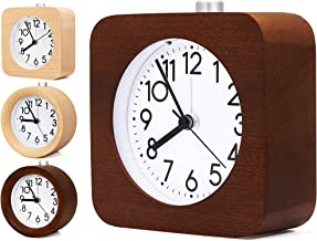 Boucoln 4 Inch Wooden Analog Alarm Clock Battery Operated Non-Ticking with Snooze Button,Night Light,Gentle Wake