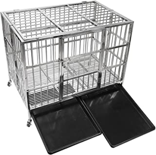 "confote 42"" Heavy Duty Stainless Steel Dog Cage Kennel Crate and Playpen for Training Large Dog Indoor Outdoor with Double Doors & Locks Design Included Lockable Wheels Removable Tray No Screw"