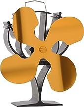 VODA Nieuw ontworpen 4 Blades Warmte Aangedreven Kachel Ventilator voor Hout/Log Brander/Open Haard - Eco Vriendelijk (Goud)