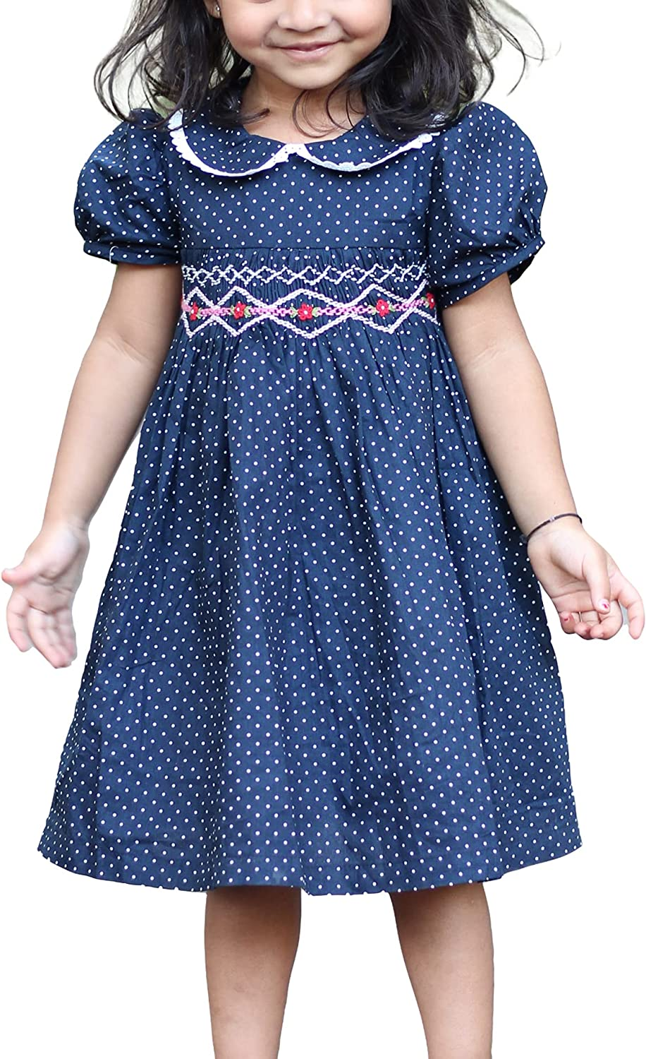Gojiri Toddler Girls 100% Cotton Hand Smocked Casual Dress with Polka Dots Midnight Blue Color Princess Party Wear Dress