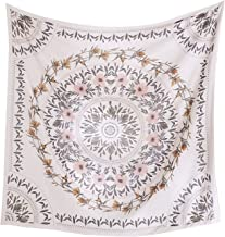 Simpkeely Sketched Floral Medallion Tapestry, Bohemian Mandala Wall Hanging Tapestries, Indian Art Print Mural for Bedroom Living Room Dorm Home Décor 59.1x59.1 Inches(Mauve)